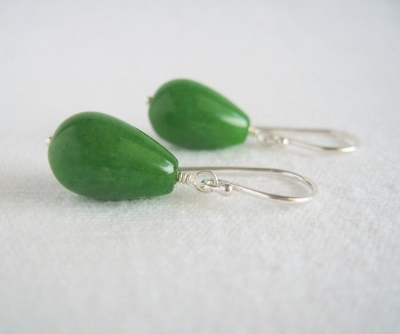 Green candy jade earrings Drop Moss Grass green Sterling earwires Minimalist Modern Dangle Christmas St Patrick's Day