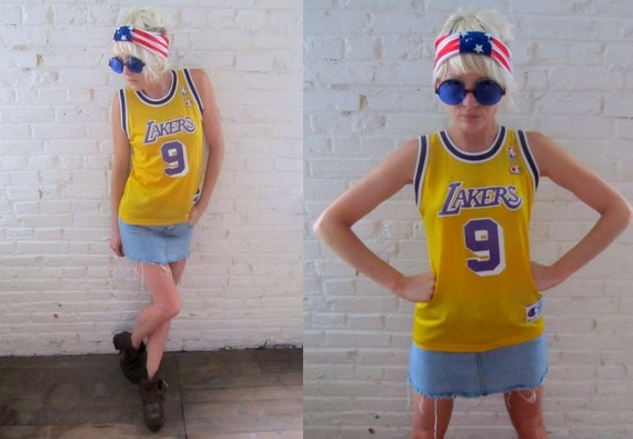 90's LA LAKERS Yellow Mesh Basketball Sporty Hip Hop Grunge Jersey Top