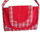 Red Tartan Handbag Large Flap Pocket Shoulder Bag