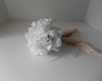 White Roses Bridal Toss Bouquet Alternative Bouquet