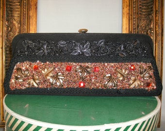 1960's Black Fabric Clutch with Glued On Accents and Optional Chain