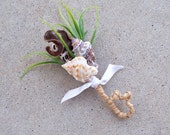 CUSTOM LISTING for KARA,  Men's seashell boutonniere with natural elements, greenery and raffia stem