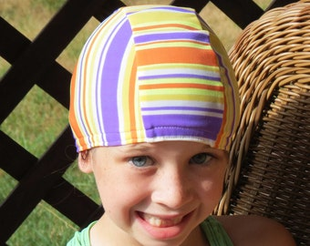 Lycra SWiM CaP - SUMMER STRIPES - Sizes - Baby , Child , Adult , XL - Made from Spandex / Swimsuit Swimming Fabric -by Froggie's Swim Caps