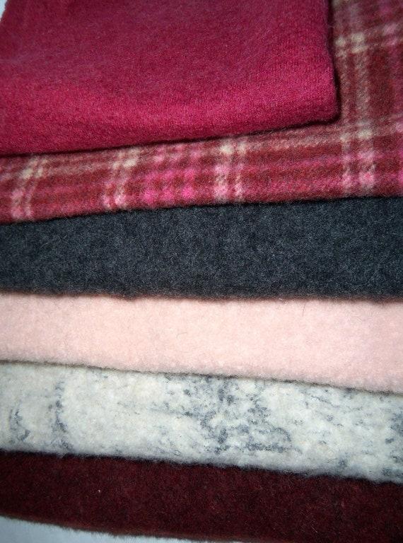 Oversized wool pieces for needle felting, craft projects, stuffed animals, 100% wool, burgandy gray destash
