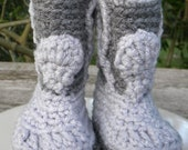 Cowboy booties - Two tone gray. Fits babies 0-6 months.  In stock ready to ship.