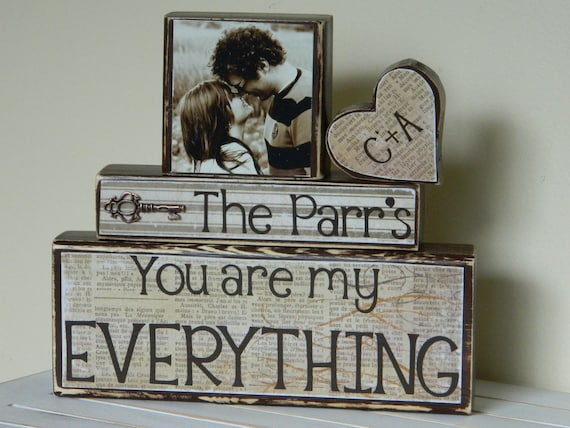 Wedding decoration/gift bridal shower decoration/gift personalized wedding gift with photo name and quote rustic key charm painted wood