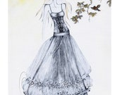 "Print from original pencil and mixed media fashion illustration - titled,"" Sebille"""