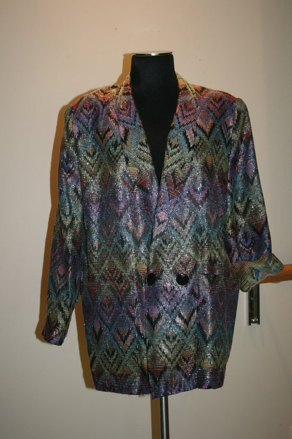 SALE 1980's Madonna Jacket Holiday SALE Tribal Ethnic Fabric