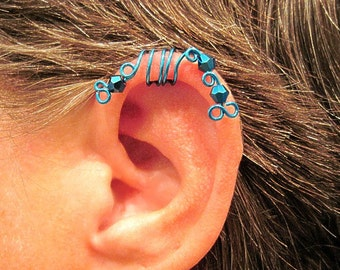 "No Piercing ""Blue Peacock"" Ear Cuff Cartilage 1 Cuff  COLOR CHOICES"