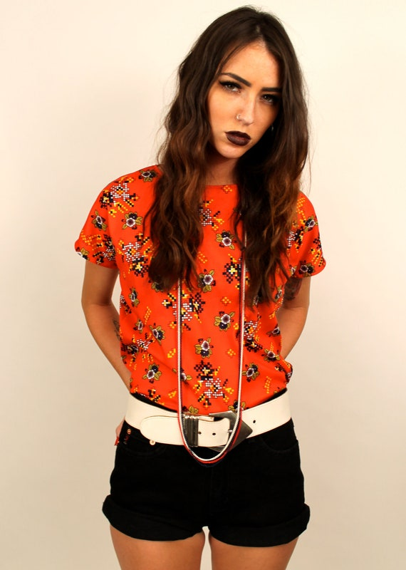 1970s Vintage Blouse Top // Bright Orange and Tetris Like Pixels / Awesome MUST SEE / Womens size Small to Medium
