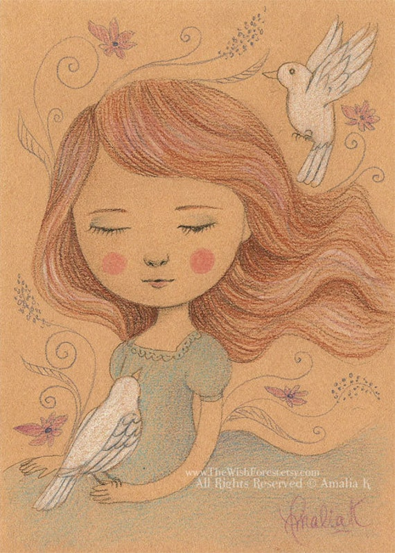 White Doves - Original Pencil Drawing Illustration by Amalia K