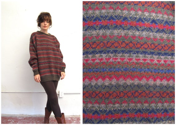 burrrr-berry. vintage 80s Burberry oversized Cosby style sweater. size Large