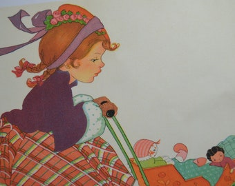 Fine Art Giclee print Fabric Quilt Girl and stroller