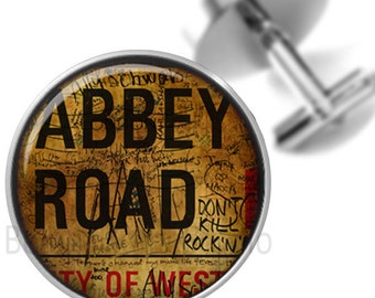 Cufflinks Graffiti Abbey Road British Steampunk Sepia Groomsmen Wedding Party Fathers Dads Men
