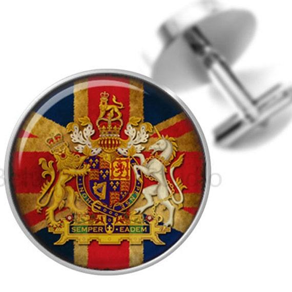Cufflinks British Flag Crest Lion Unicorn Crest Groomsmen Wedding Party Fathers Dads Men