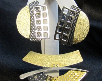 1980's Edelstein Hand Crafted One of a Kind, Geometric Modern Brooch and Earrings
