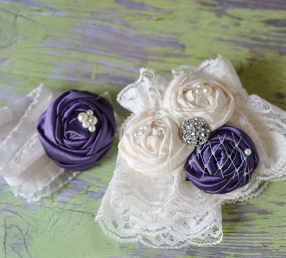 Couture Garters For Wedding: Items Similar To Plum Wedding Garter Set- Couture Lace