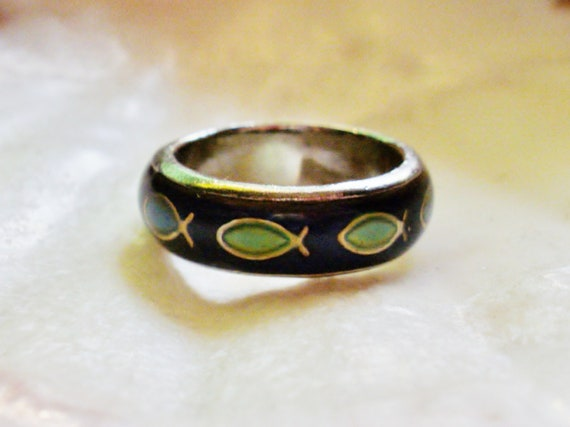 Mood ring wedding band with fish size 6 by lilbooker on etsy for Fishing wedding ring