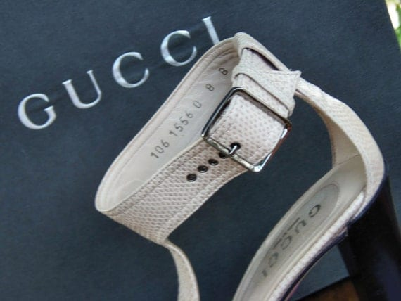 Vintage Authentic Gucci Sandals Strappy Original Box Gucci Shoes Leather Snakeskin Embossed Gucci Shoes Design Du'Jour