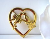 Vintage Gold Plated Love Birds in Heart Brooch
