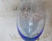 Filigree Heart Silver Plated Earrings