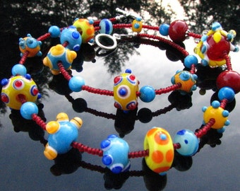 Lampwork Bead Necklace Handcrafted Glass Handmade Artisan Wearable Art Jewelry SRA and SRAJD