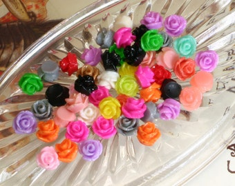 Resin Flower Cabochons - 10mm Rose Sampler - 30pcs