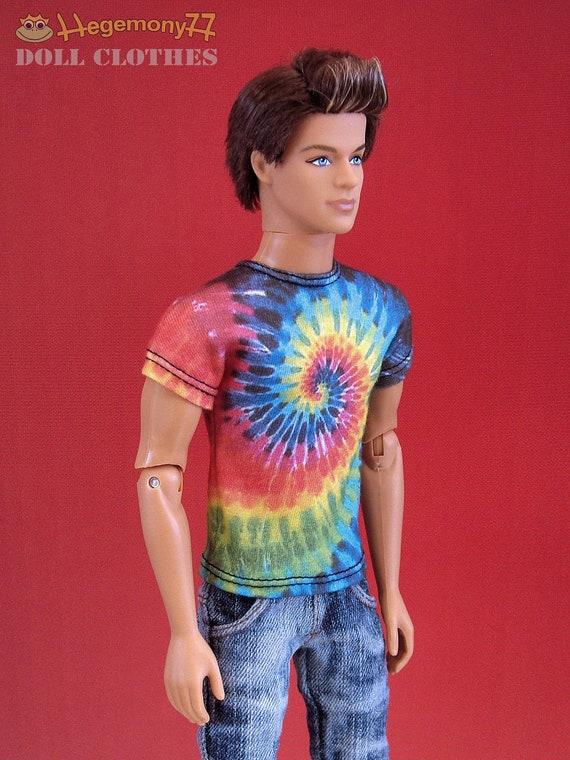 Tie dye rainbow vortex T shirt for Ken Fashion Royalty Homme Taeyang 27 cm male Obitsu size sixth scale dolls