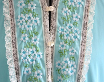 Robin's Egg Blue Nightgown 1960's Embroidered Small Gossard Artemis