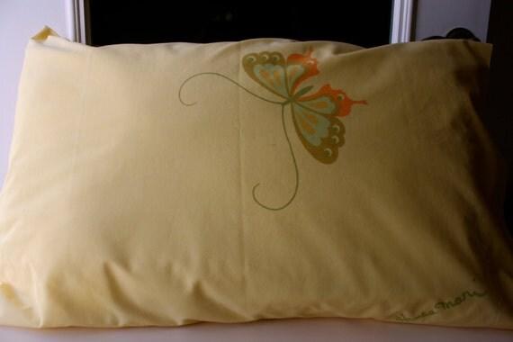 Yellow Standard Pillowcase Butterflies Hanae Mori