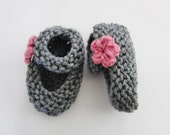0-6 Month Baby Girl Mary Jane Booties - Gray