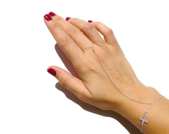 Slave Bracelet, Bracelet Ring, Cubic Zirconia Cross Charm, Sterling Silver, Hand Chain, Body Chain, Swarovski Crystal