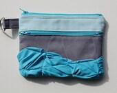 Gussied Up Zipper Pouch in Aquamarine - Aqua/ Gray fabric