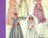 FREE USA Shipping McCalls 8520 1980s Vintage Pattern Wedding Gown Bridesmaid Dress Lace Train Ruffles Off the Shoulder Size 12 Bust 34
