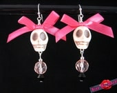 Kiss Me Deadly- Hot pink and pink skull bow earrings