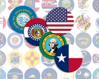 American States Flags Bottlecap Images / USA States Printable Digital Collage / 1-Inch Circles / Instant Download / Americana / America