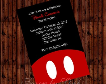 "PRINTED qty 30 Birthday Invitations 4""x6"" Mickey Mouse"