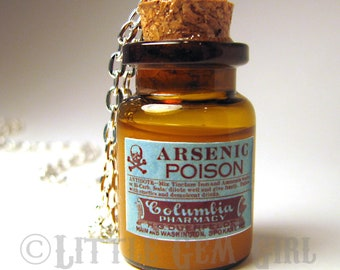 Arsenic Poison Large Glass Bottle Cork Necklace - Old Vintage Antique - Potion Vial Charm - Amber Shimmer