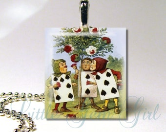 Vintage Alice in Wonderland Necklace Pendant - Painting the Roses Red - Red Queen - Alice In Wonderland Jewelry Charm - Queen of Hearts