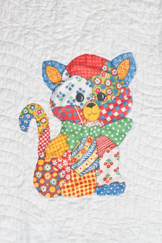 Quilt Cat Kitty Patchwork Baby Blanket