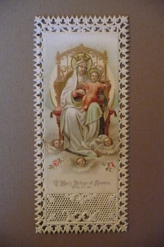 Antique lace holy card O Mary Refuge of Sinners religious prayer