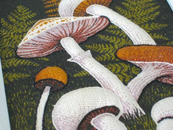 Vintage Mushroom - 3D Framed Linen Embroidery -  6 x 8 - Nehiandzotz