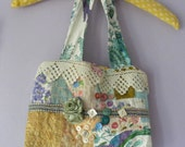 Bag Purse Peacock Recycled Upcycled Vintage Fabric