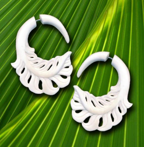 Fake Gauge Earrings, Fern Leaf Drop, White Bone, Tribal Carvings, Organic, Handmade, Split, Plugs, Cheaters - B22