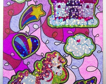 ACEO - Kawaii Pony Castle Rainbow Heart Clouds Bird - Stickers & Abstract Glitter Design