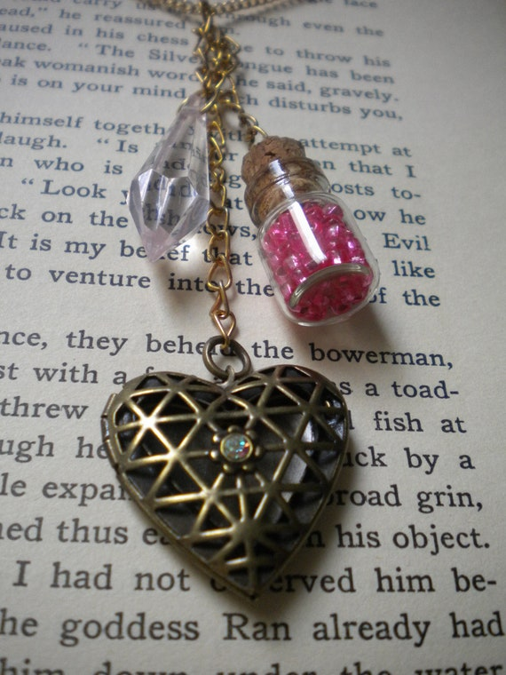 Love Potion Vial w/ Heart Locket Charm Necklace