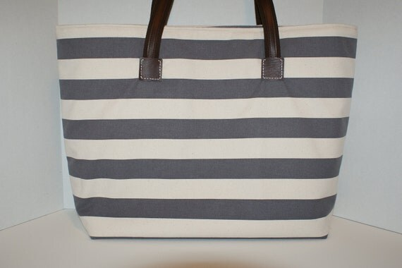 Extra Large Canvas Travel Tote Bag with Wide Nautical Border Stripes in Gray and Natural
