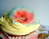 Edible Cupcake Toppers - Wafer Flowers - Glittery Edible Poppies for Large Cupcakes and Cakes