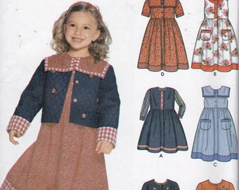 Simplicity 9846 Child's Dress or Jumper in Two Lengths and Lined or Unlined Jacket Pattern,  UNCUT, Size 3-4-5-6-7-8
