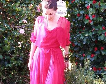 Ruby Red Sheer 70s Dress with matching bolero .